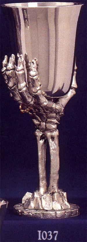 Skeleton Hand Pewter Goblet