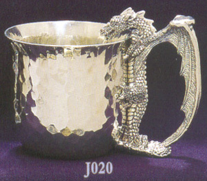 Drinking Dragon Pewter Cup