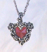 Rose Heart Pewter Pendant