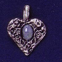 Opal Heart Pewter Pendant