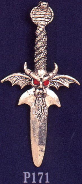 Cobra Sword Pewter Pendant