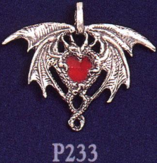 Crystal Dragon Heart Pewter Pendant