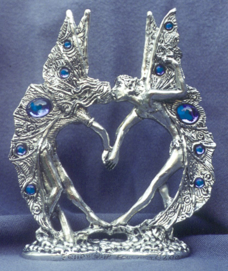 Fairy Heart Pewter Cake Top