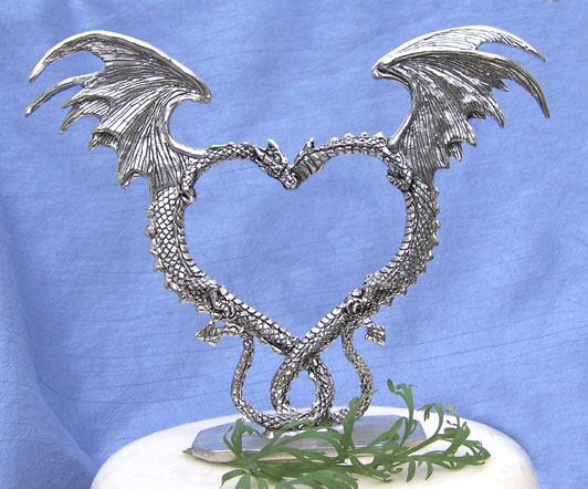 Dragon Heart Pewter Cake Top