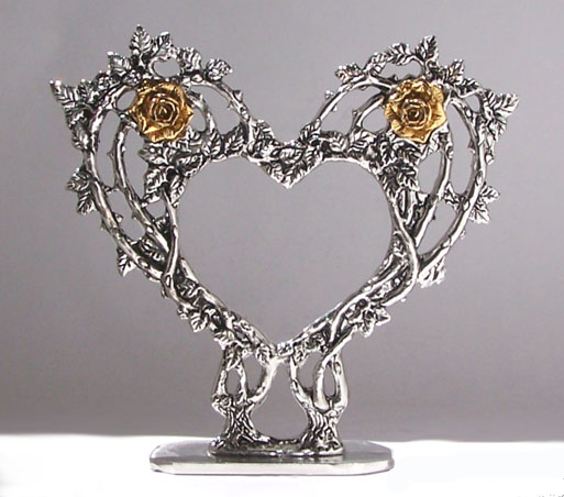 Rose Heart Pewter Cake Top